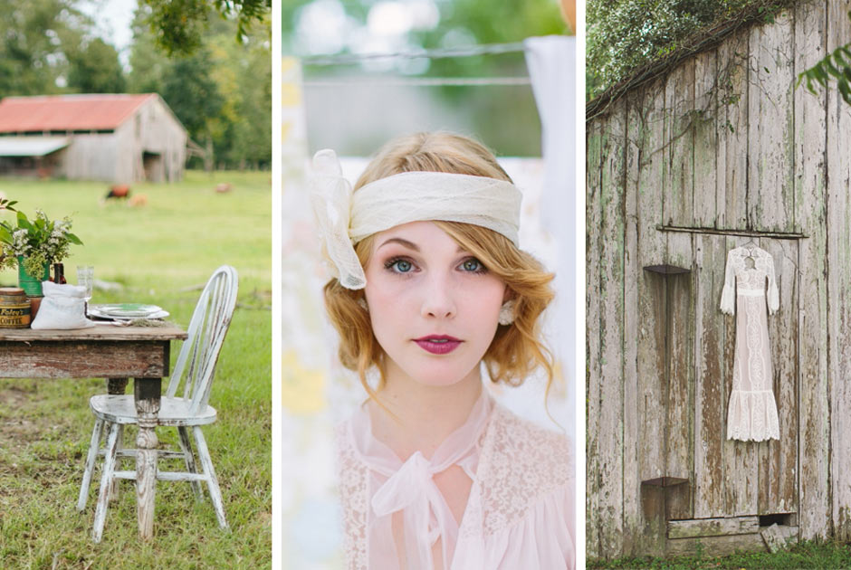 Wedding Photoshoot with Vintage Rental Furniture near Baton Rouge, Louisiana